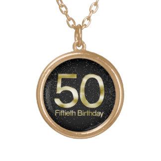50th Birthday, Elegant Black Gold Glam Round Pendant Necklace