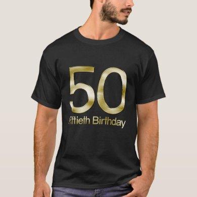 50th Birthday, Elegant Black Gold Glam T-Shirt