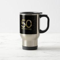 50th Birthday, Elegant Black Gold Glam Travel Mug