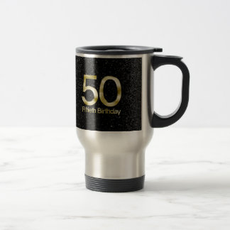 50th Birthday, Elegant Black Gold Glam Travel Mug