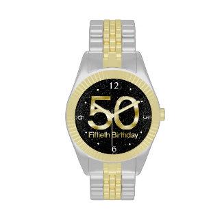 50th Birthday, Elegant Black Gold Glam Wristwatch