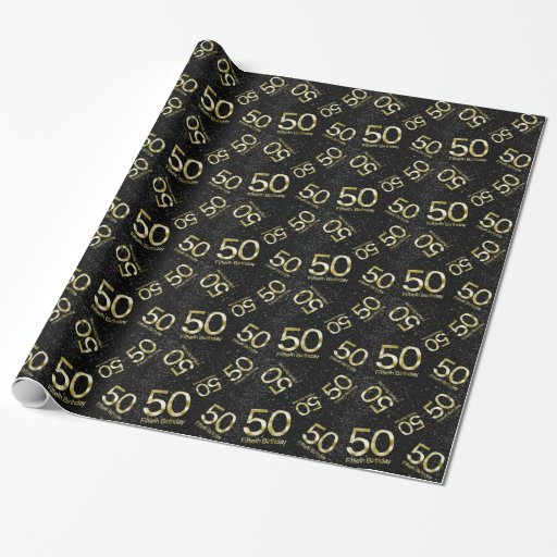 50th birthday elegant black gold glam wrapping paper zazzle. Black Bedroom Furniture Sets. Home Design Ideas