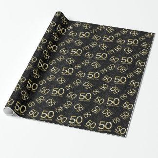 50th Birthday, Elegant Black Gold Glam Wrapping Paper