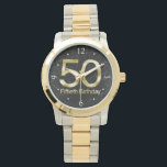 """50th Birthday, Elegant Black Gold Glam Wrist Watch<br><div class=""""desc"""">Rich,  sophisticated and elegant,  this 50th birthday gleams with the shine and glitter of metallic look gold,  gilded in a shiny finish,  with a black sparkle pattern background. Sure to bring an air of glam and bling to any fiftieth birthday celebration,  party or gift idea. Design Copyright &#169; CustomInvitesOnline.</div>"""