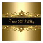 50th Birthday Elegant Classy Ornate Gold Black 2 Custom Invites
