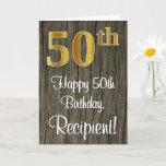 [ Thumbnail: 50th Birthday: Elegant Faux Gold Look #, Faux Wood Card ]