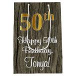 [ Thumbnail: 50th Birthday: Elegant Faux Gold Look #, Faux Wood Gift Bag ]