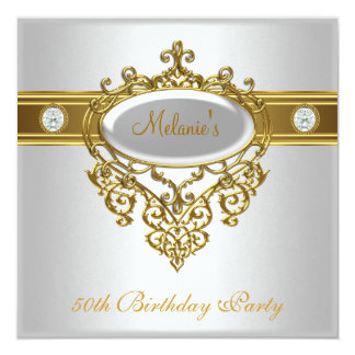 50th Birthday Elegant Lace White Gold Diamond 3 Personalized Announcements