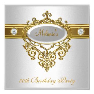 50th Birthday Elegant Lace White Gold Diamond 3 5.25x5.25 Square Paper Invitation Card