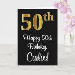 [ Thumbnail: 50th Birthday ~ Elegant Luxurious Faux Gold Look # Card ]