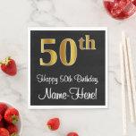 [ Thumbnail: 50th Birthday ~ Elegant Luxurious Faux Gold Look # Napkins ]