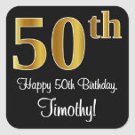 [ Thumbnail: 50th Birthday – Elegant Luxurious Faux Gold Look # Sticker ]