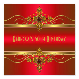 50th Birthday Elegant Rich Red Velvet Gold Jewel Card