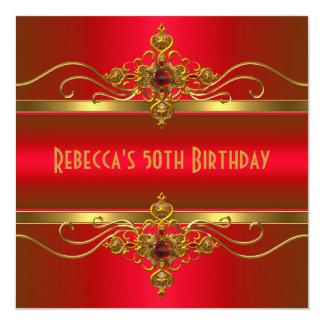 50th Birthday Elegant Rich Red Velvet Gold Jewel 5.25x5.25 Square Paper Invitation Card