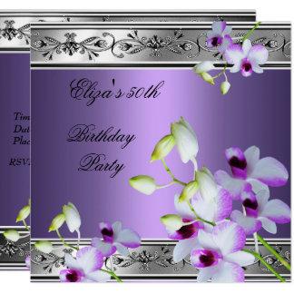 50th Birthday Elegant Silver Grey Lilac Floral Card