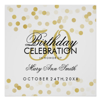 50th Birthday Faux Gold Foil Glitter Lights Poster