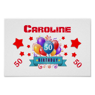 50th Birthday Festive Colorful Balloons C01DZ Poster