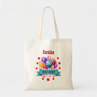 50th Birthday Festive Colorful Balloons C01DZ Tote Bag
