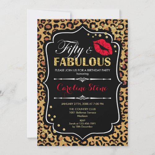 50th Birthday _ Fifty Fabulous Leopard Print Invitation