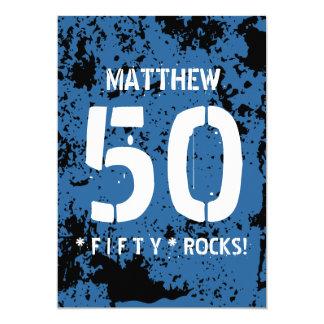 50th Birthday Fifty Rocks BLUE Grunge Pattern F50Z Card