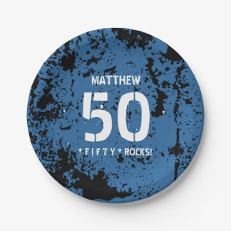 50th Birthday Fifty Rocks BLUE Grunge Pattern F50Z 7 Inch Paper Plate