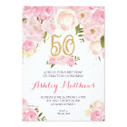 50th birthday Floral Invitation, Card