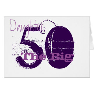 50th Birthday for daughter, purple text on white. Card