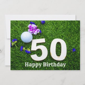 50th Birthday for golfer with golf ball and flower