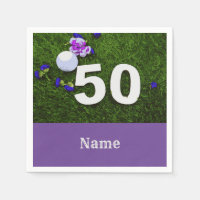 50th Birthday for golfer with golf ball and flower Napkin