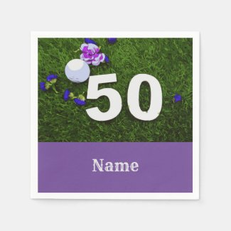 50th Birthday for golfer with golf ball and flower Napkins