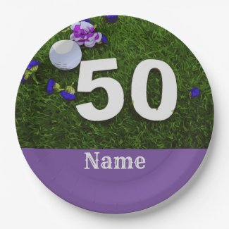 50th Birthday for golfer with golf ball and flower Paper Plate