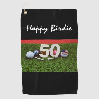 50th Birthday for golfer with golf happy birdie Golf Towel