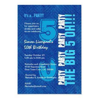 """50th Birthday For Him Royal Blue and Aqua W1503 5"""" X 7"""" Invitation Card"""