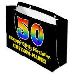[ Thumbnail: 50th Birthday ~ Fun, Colorful, Vibrant, Rainbow 50 Gift Bag ]