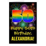 [ Thumbnail: 50th Birthday: Fun Fireworks Pattern & Rainbow 50 Card ]