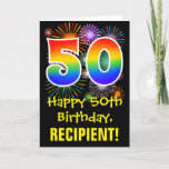 [ Thumbnail: 50th Birthday: Fun Fireworks Pattern + Rainbow 50 Card ]