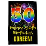 [ Thumbnail: 50th Birthday: Fun Fireworks Pattern + Rainbow 50 Gift Bag ]