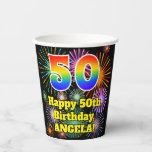 [ Thumbnail: 50th Birthday: Fun Fireworks Pattern + Rainbow 50 ]