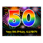 [ Thumbnail: 50th Birthday – Fun Fireworks Pattern + Rainbow 50 Postcard ]