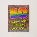 [ Thumbnail: 50th Birthday: Fun Graffiti-Inspired Rainbow 50 Jigsaw Puzzle ]