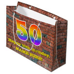 [ Thumbnail: 50th Birthday: Fun, Graffiti-Inspired Rainbow # 50 Gift Bag ]