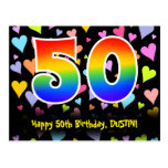 [ Thumbnail: 50th Birthday: Fun Hearts Pattern, Rainbow 50 Postcard ]