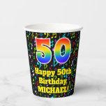 [ Thumbnail: 50th Birthday: Fun Music Notes Pattern, Rainbow 50 ]