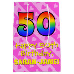 [ Thumbnail: 50th Birthday: Fun Pink Hearts Stripes; Rainbow 50 Gift Bag ]