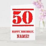 [ Thumbnail: 50th Birthday: Fun, Red Rubber Stamp Inspired Look Card ]