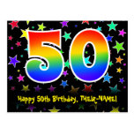 [ Thumbnail: 50th Birthday: Fun Stars Pattern, Rainbow 50, Name Postcard ]