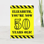 [ Thumbnail: 50th Birthday: Fun Stencil Style Text, Custom Name Card ]