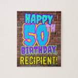 [ Thumbnail: 50th Birthday ~ Fun, Urban Graffiti Inspired Look Jigsaw Puzzle ]