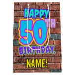 [ Thumbnail: 50th Birthday: Fun, Urban Graffiti Inspired Look Gift Bag ]