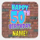 [ Thumbnail: 50th Birthday – Fun, Urban Graffiti Inspired Look Sticker ]